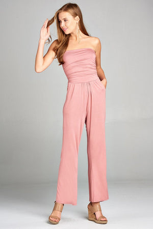Ladies fashion tube top long wide leg rayon spandex jumpsuit - MyRoseLife