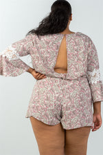 Ladies fashion plus size 3/4 bell sleeves floral crochet sleeves surplice romper - MyRoseLife