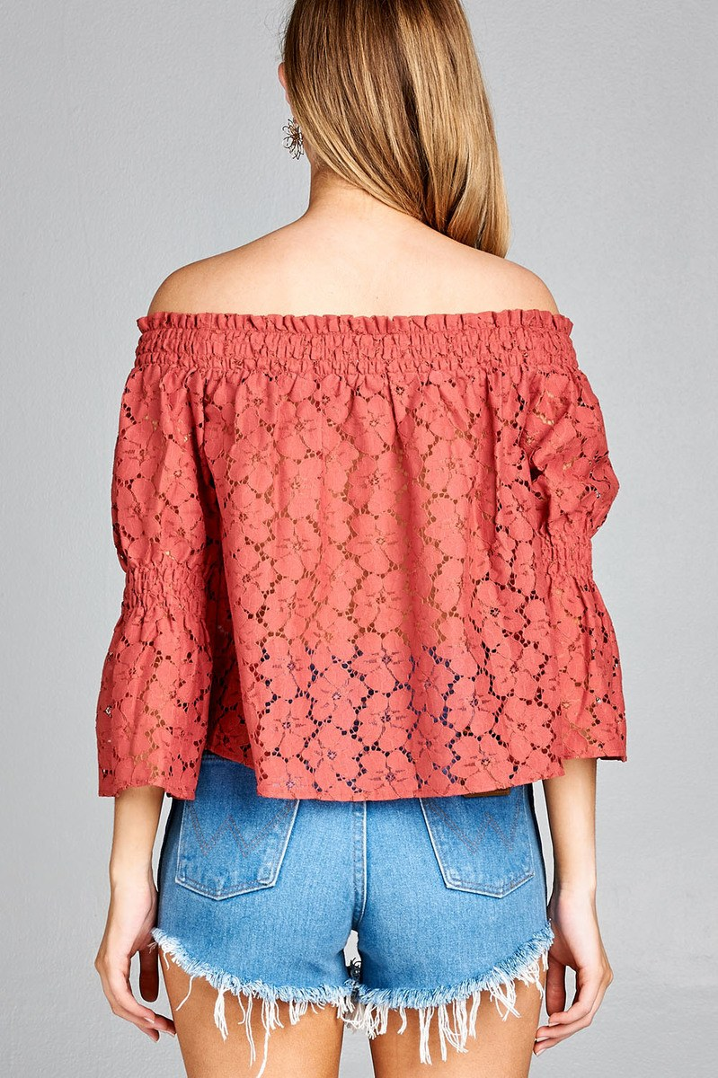Ladies fashion off the shoulder w/smocked detail floral lace top - MyRoseLife