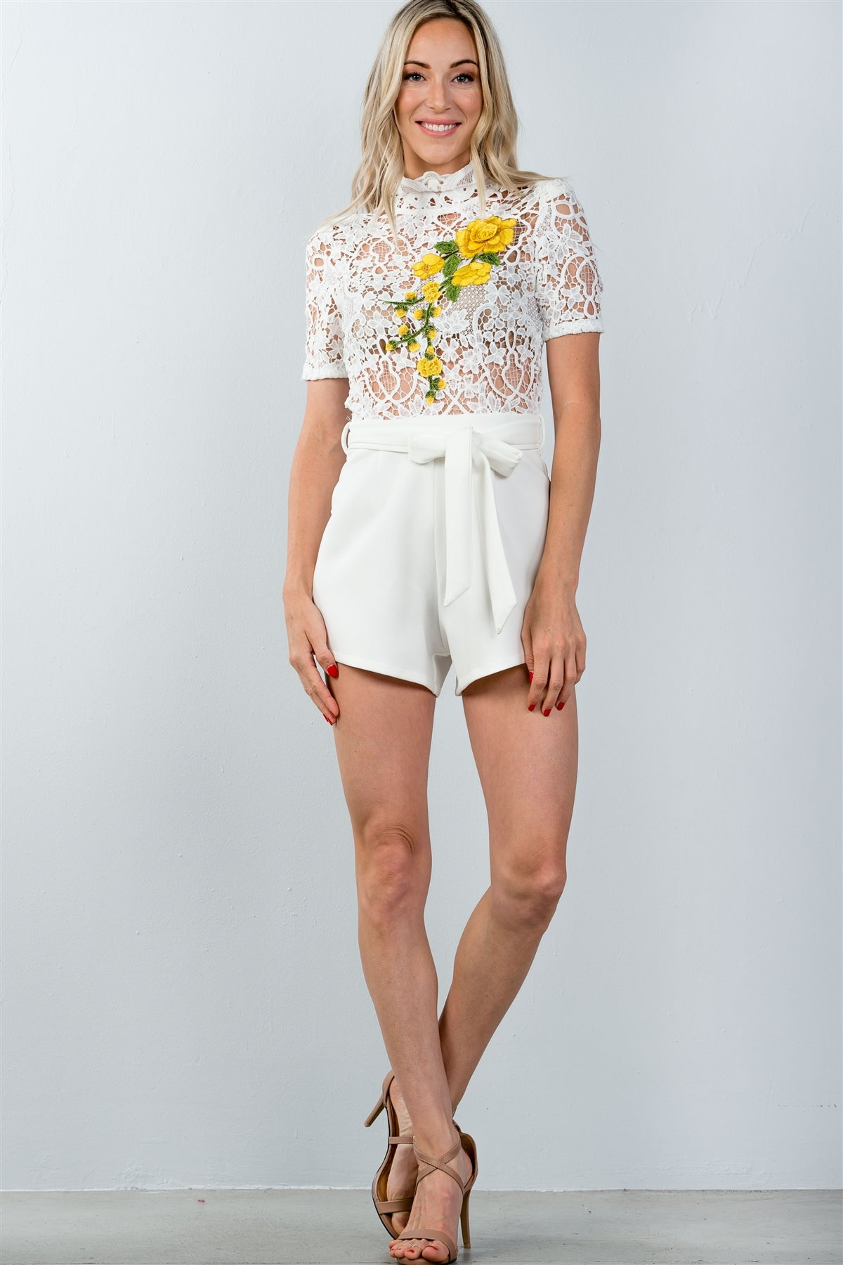 Ladies fashion high neck floral embroidered crochet belted romper - MyRoseLife