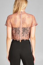Ladies fashion mock neck w/back zipper mesh lace crop top - MyRoseLife
