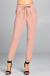 Ladies fashion waist hem and pocket ruffle detail w/self tie ankle pants - MyRoseLife