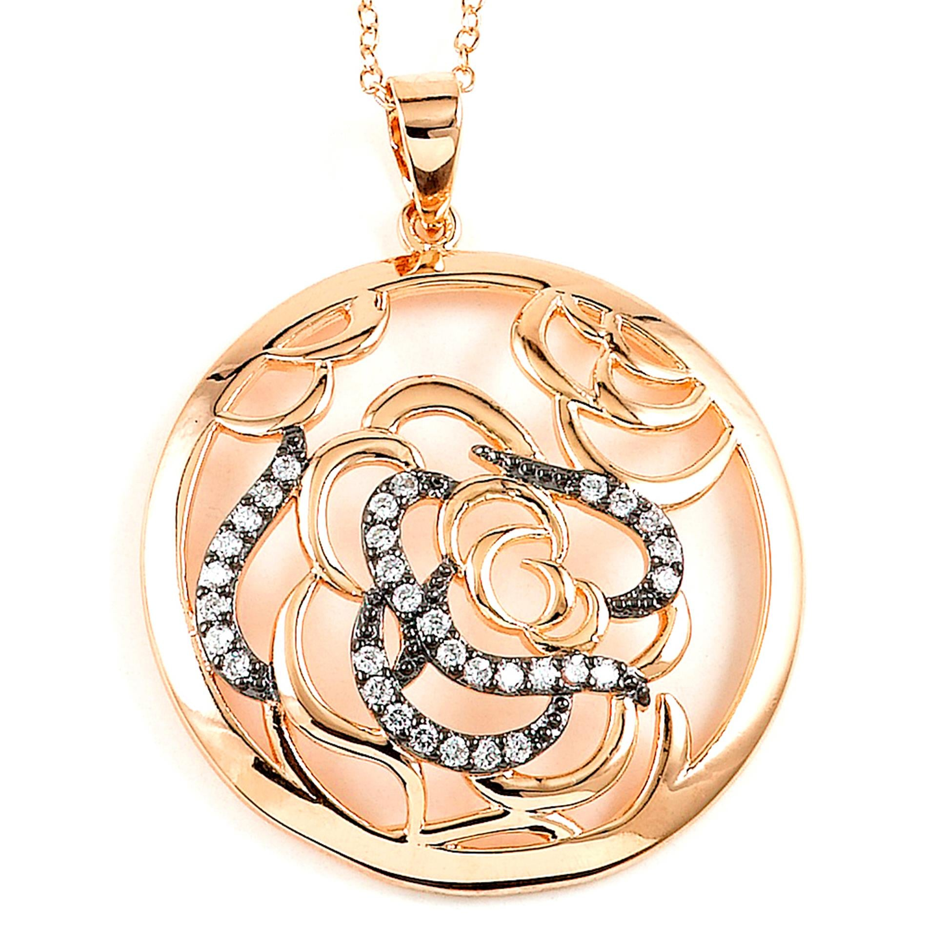 Sterling Silver Rose Gold Plated and Cubic Zirconia Rose Necklace 345-DBN493R - MyRoseLife