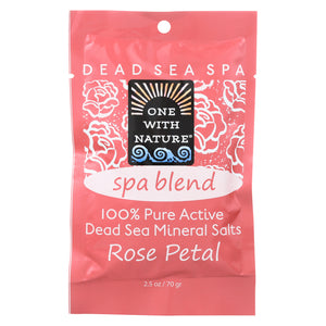 One With Nature Spa Blend Rose Petal Dead Sea Mineral Bath - Salt - Case of 6 - 2.5 oz. - MyRoseLife
