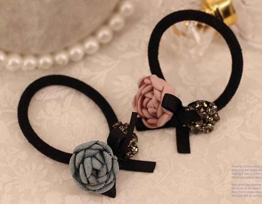 [Rose] Stylish Fabric Flower Ponytail Holder - MyRoseLife
