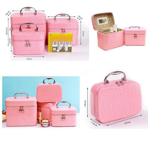 Fashion Creative Portable Cosmetic Box Makeup Box Makeup Bags, Small Square Rose Red - MyRoseLife