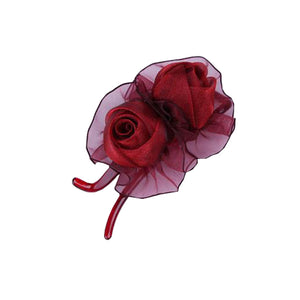 [Wine-red] Double-Rose Hair Styling Tool Barrette & Ponytail Holder Hair Clip - MyRoseLife