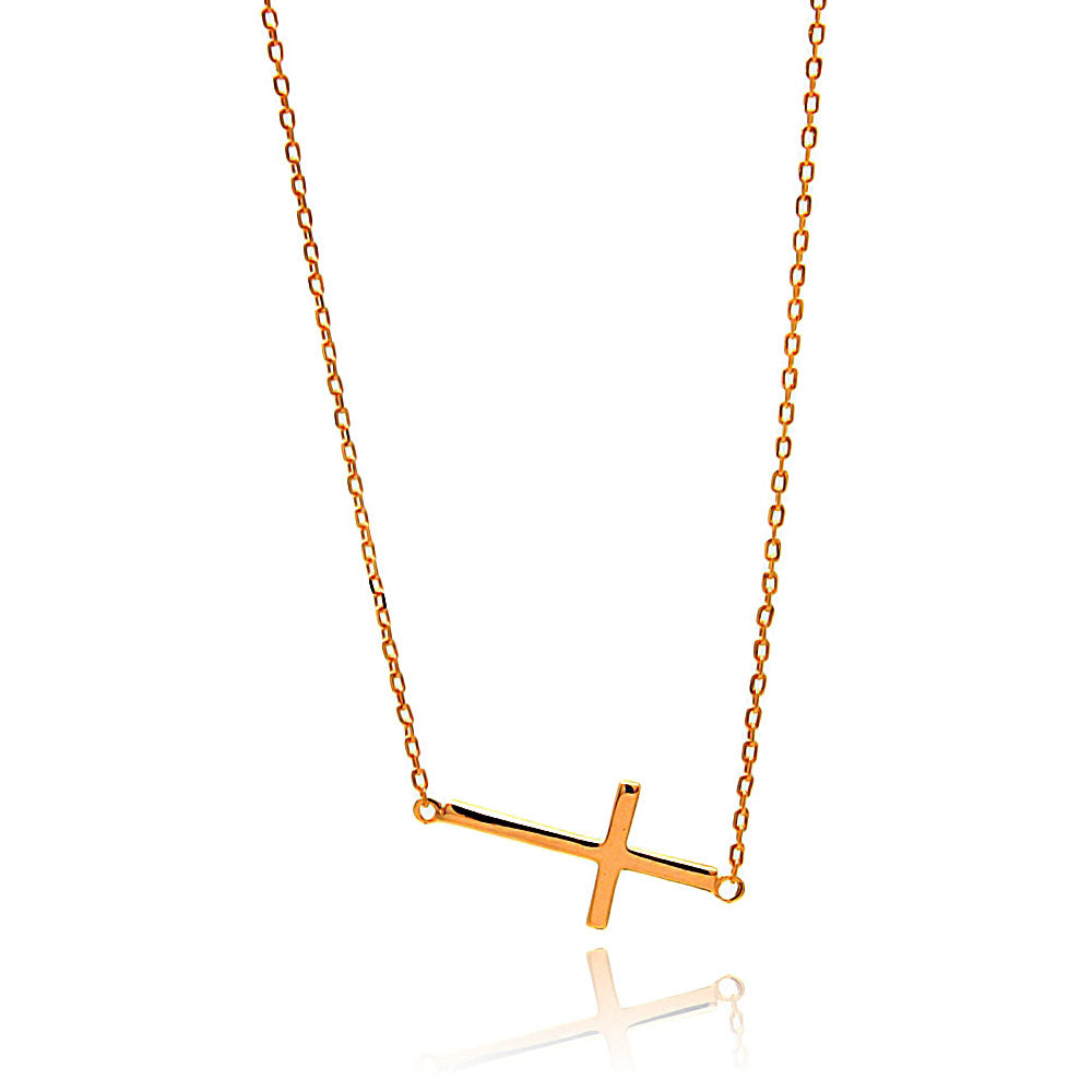 Rose Gold Plated Sterling Silver Sideway Cross Necklace - MyRoseLife