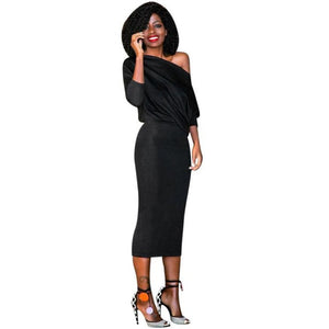 One Shoulder Batwing Sleeve Fashion Sexy Women Long Sleeve Dress For Women Cocktail Party Mid-Calf Dress robes grandes tailles - MyRoseLife