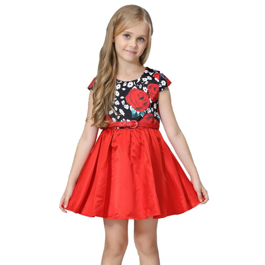 Princess Girls Floral Dresses Summer Baby girl Rose Flower Pattern Dress With Belt Children Party dress for girls Vestidos - MyRoseLife