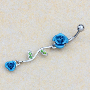 Piercing Jewelry Navel Ring Belly Ring Navel Double Rose Leaves Red - MyRoseLife