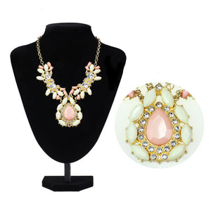 Women Gold Plated Crystal Gems Water Drop Statement Necklace Jewelry - MyRoseLife