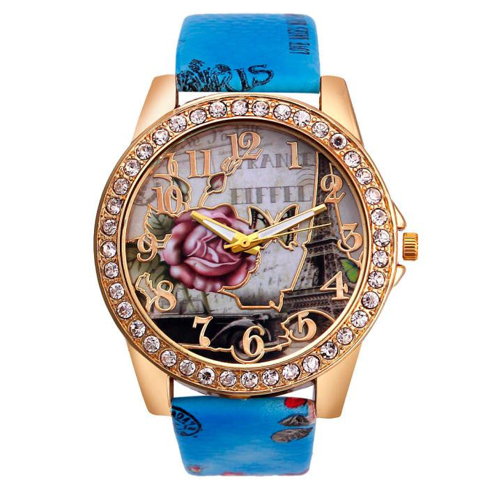 Rose Pattern Leather Band Analog Quartz Wrist Watch - MyRoseLife