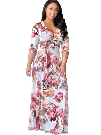 Floral V Neck Women's Maxi Dress - MyRoseLife