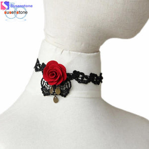 SUSENSTONE Women Handmade Red Flower Rose Leaf Lace Chunky Choker Necklace Gothic Bridal - MyRoseLife