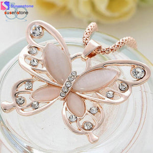 SUSENSTONE Fashion Womens Lady Rose Gold Opal Butterfly Pendant Necklace Sweater Chain Hot - MyRoseLife