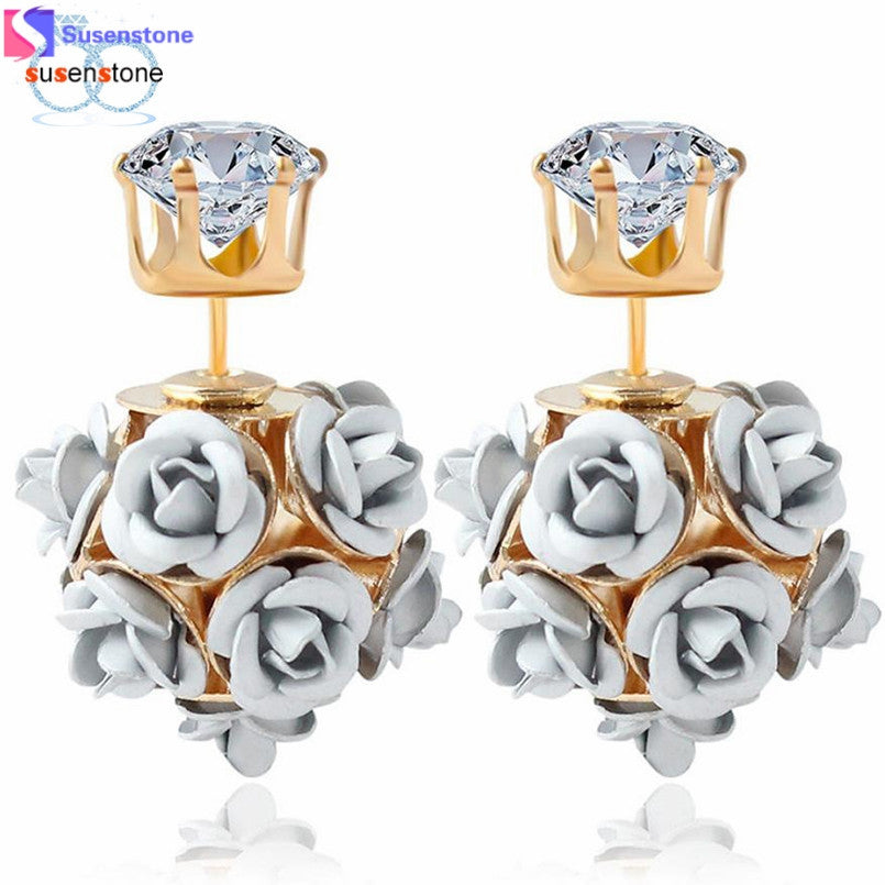 SUSENSTONE New Fashion Flower Rose Women Girls Crystal Stud Earrings Gift - MyRoseLife