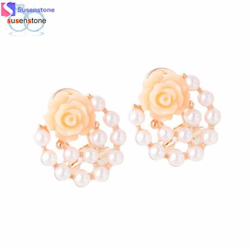 SUSENSTONE Fashion Women Ear Stud Rose Flower Earrings Jewelry - MyRoseLife