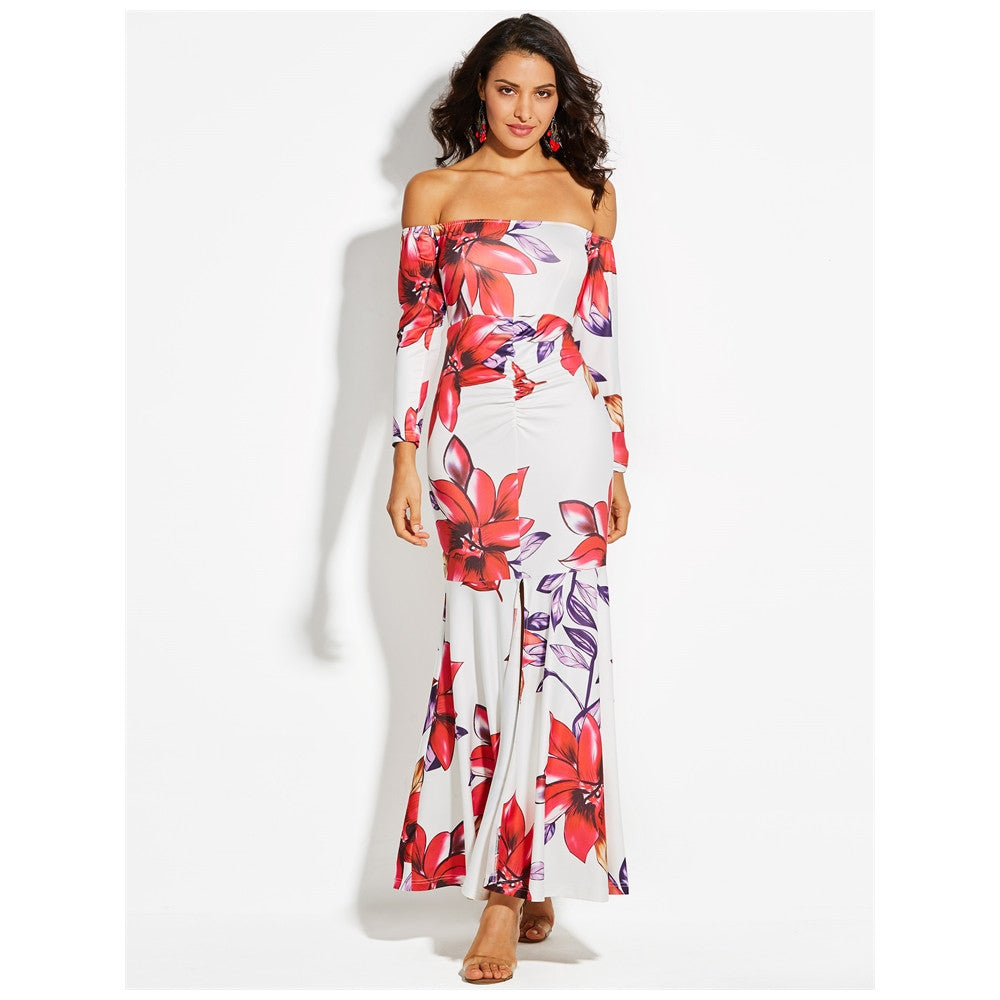 White Floor-length Floral Bodycon Dress - MyRoseLife