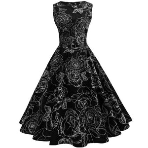 Women Vintage Floral Bodycon Sleeveless Casual Evening Party Prom Swing Dress - MyRoseLife