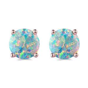 Rose Gold Plated Opal Stud Earrings 8MM Round For Women - MyRoseLife