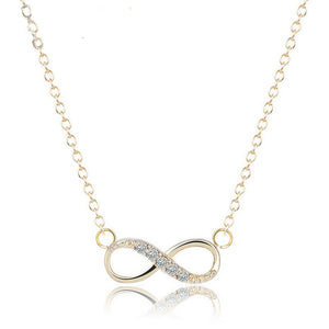 Tiny Crystal Infinity Necklace in Gold For Women - MyRoseLife