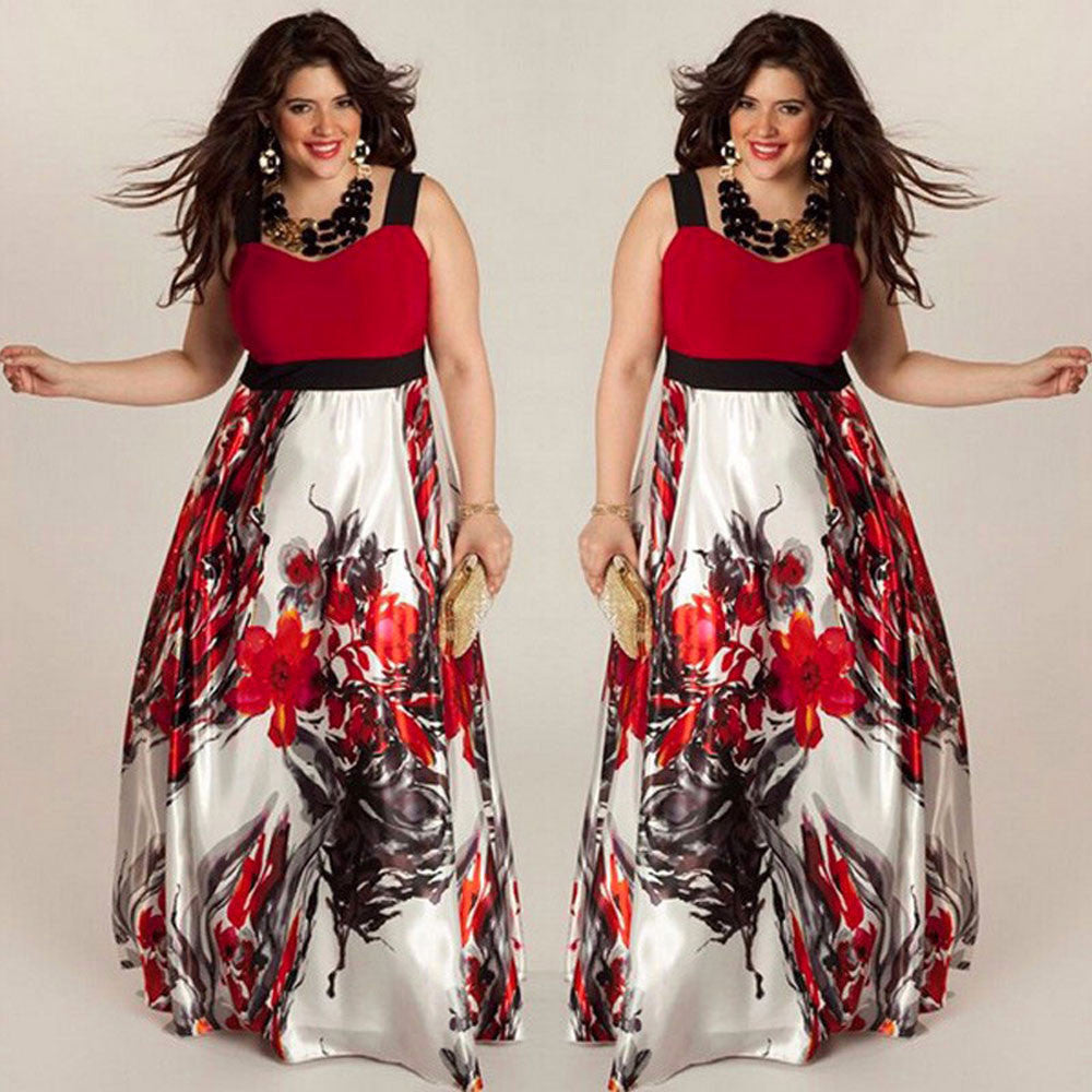 Plus Size Women Floral Printed Long Evening Party Prom Gown Formal Dress - MyRoseLife