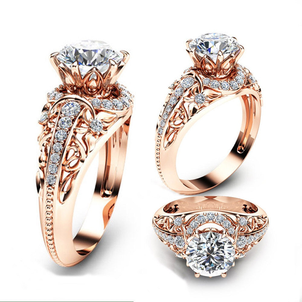 Luxury Wedding 14K Rose Gold Ring Round Cut 2.2CT White Topaz Engagement Ring - MyRoseLife