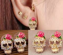 Pink Rose Rhinestone Skull Earrings - MyRoseLife