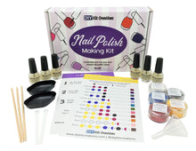 DIY Nail Polish Kit displaying all components including bottles, utensils, pigments, and box