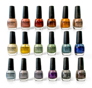 Collection of nail polish colors that can be made with included pigment powders