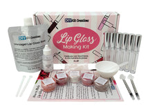 DIY Lip Gloss Kit with Versagel base, tubes, pigments, oil in dropper bottle, syringes, box, instructions, and tools