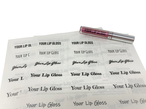 Sample sheet of custom lip gloss clear PET labels