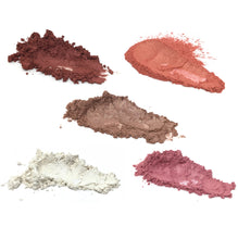 Mica pigment powder set showing five colors including merlot red, warm pink, cool pink, white, and sunset coral