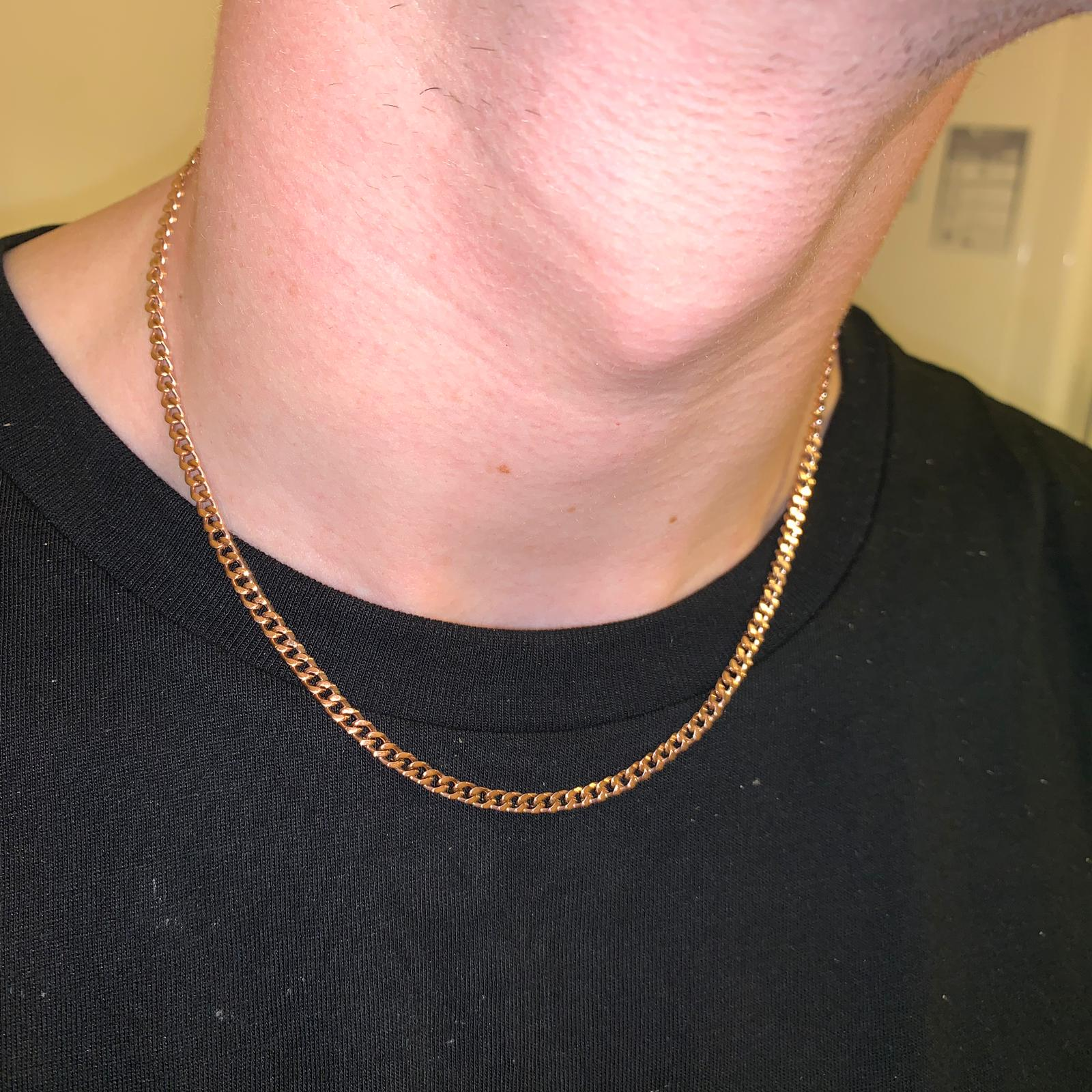 3mm Cuban Chain in Rose Gold