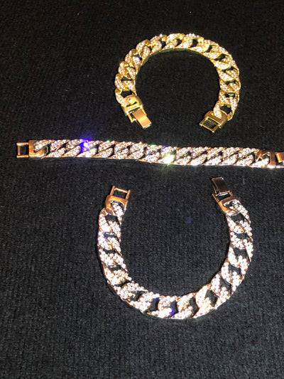 Iced Out Cuban Bracelet - 14k Gold Plated - 14mm