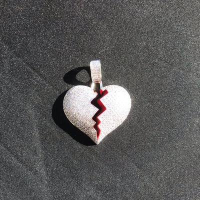 Iced Out Broken Heart Pendant