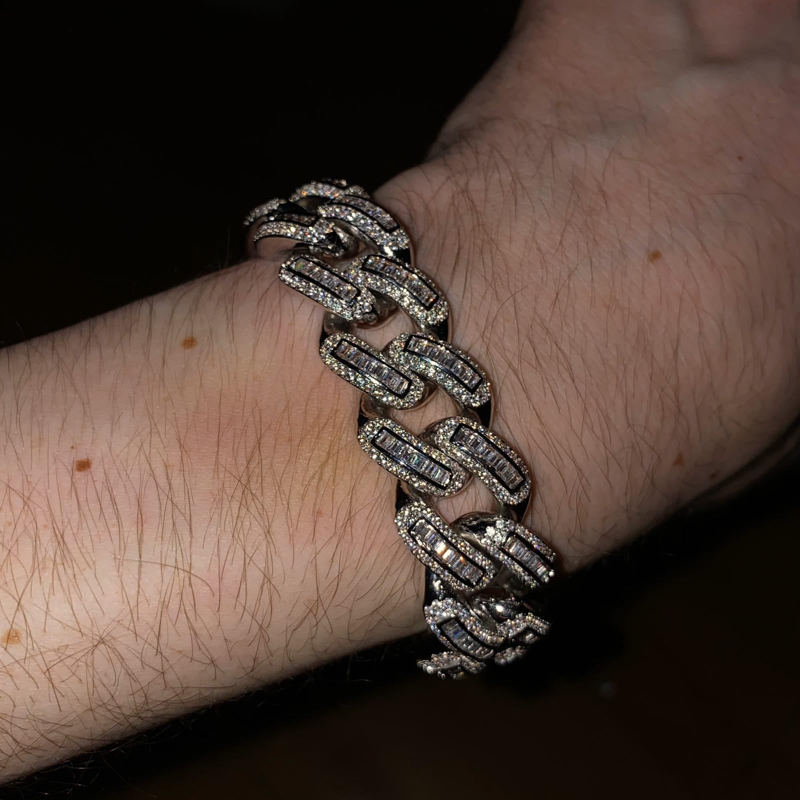 19mm ICED Baguette Bracelet in White Gold