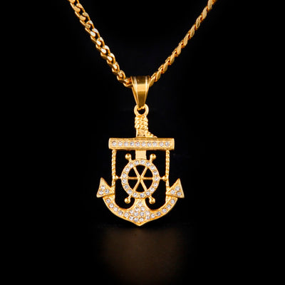 Ice Tray's Gold Iced Out Anchor Pendant Chain