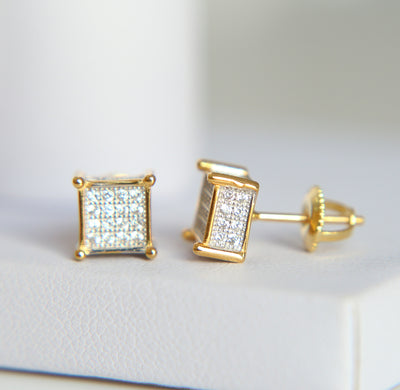 Ice Tray's Iced Out Mini Square Gold/Silver Earring
