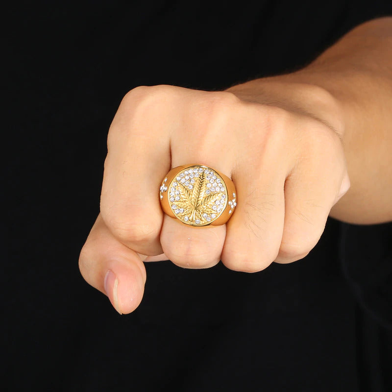 Iced 'Maple' Leaf Ring
