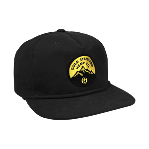 5-panel Snapback Hat with Mountain Logo; Black