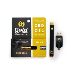 "225MG CBD Vape Cartridge ""NATURAL"" & Adjustable Voltage Battery Kit"