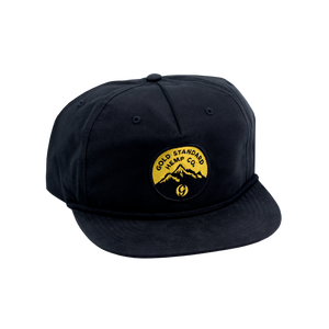 5-panel Snapback Hat with Mountain Logo Black/Gold