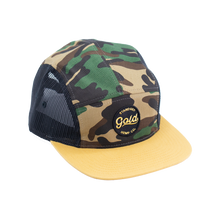 5 Panel Mesh Strap back Gold Standard Logo in Camo/Black