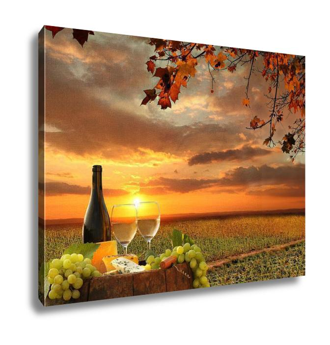 Gallery Wrapped Canvas, White Wine Barrel Vineyard Chianti Tuscany Italy