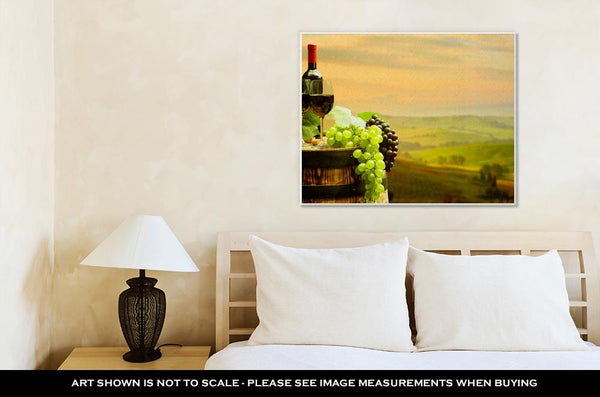Gallery Wrapped Canvas, Red Wine With Barrel On Vineyard In Green Tuscany Italy