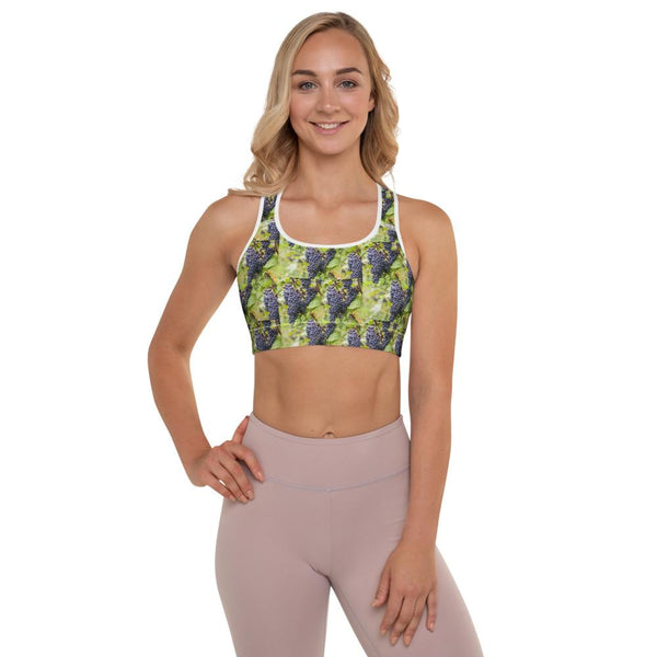 Padded Sports Bra with a Pinot Noir Grape Design
