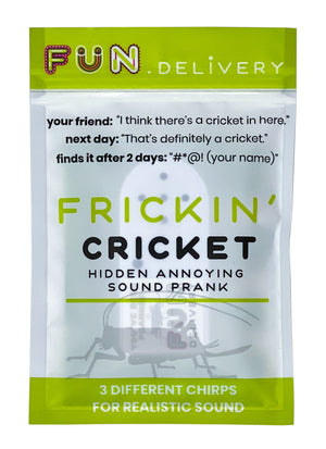 Frickin' Cricket: hidden annoying insect chirping prank sound