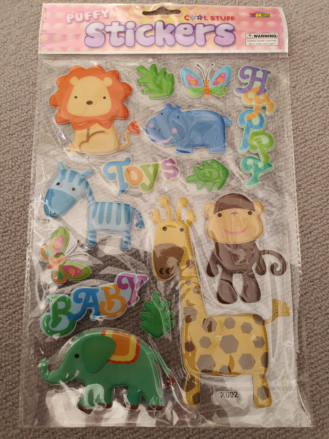 Puffy Zoo Animal Stickers